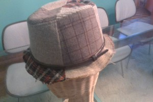 Gracie Hats Patchwork tweed fedora with slim patent belt around base and frayed tweed trim