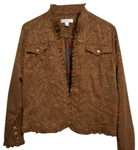 Coldwater Creek Floral Brown Womens Jean Jacket