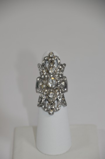 Other Silver Plated Antique look Ring Cubic Zirconia Size 5.5 On Sale