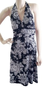 White House | Black Market short dress Black & White & Paisley Empire Waist Padded Halter on Tradesy