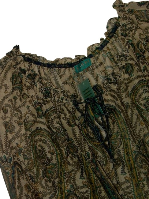 Item - Muted Blues Multi Moroccan On Off Shoulder Peasant Blouse Size OS (one size)