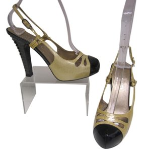 Chanel Slingback Heels Pump Beige & Black Sandals