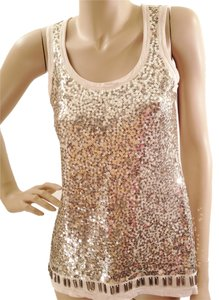 White House | Black Market Sequin Sparkle Holiday Top Gold