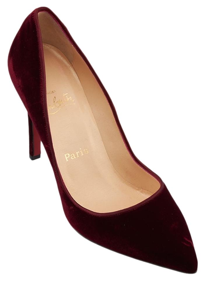 Christian Louboutin Burgundy Pigalle 100 Pumps Velvet Fabric 38.5 (63337) Pumps 100 06c23c