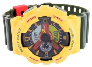 Mens Shock Resistant Watch Analog Digital Yellow Bezel Green Silicon Band Sports