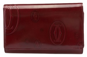 Cartier Cartier Happy Birthday Burgundy Leather Snap Wallet (60810)