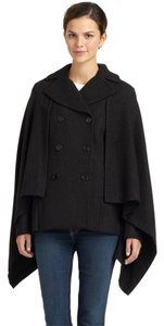 BCBGMAXAZRIA Double Brested Coat Cashmere Wool Pockets Ribbed Knit Longsleeve Lined Cape