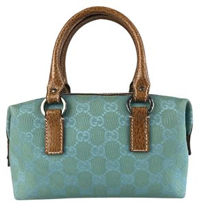 Gucci Monogram Evening Pristine Unique Small Satchel in Turquoise Guccissima