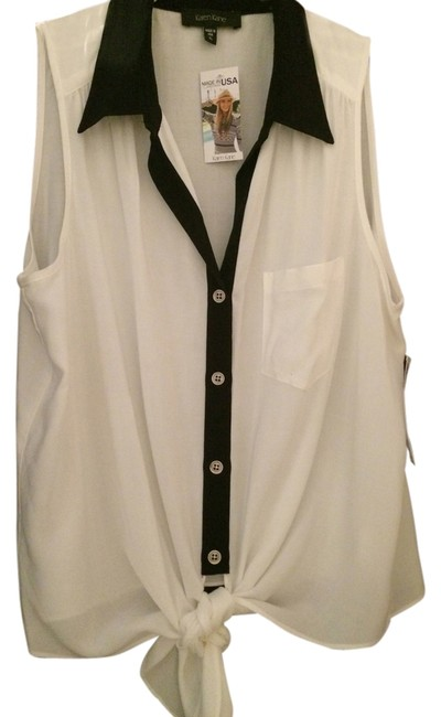 Karen Kane Tie Front Sleeveless Top White w/black trim