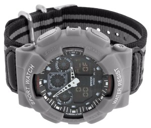 Other Mens Silver Shock Resistant Watch Sports Look Analog & Digital Display Brand New