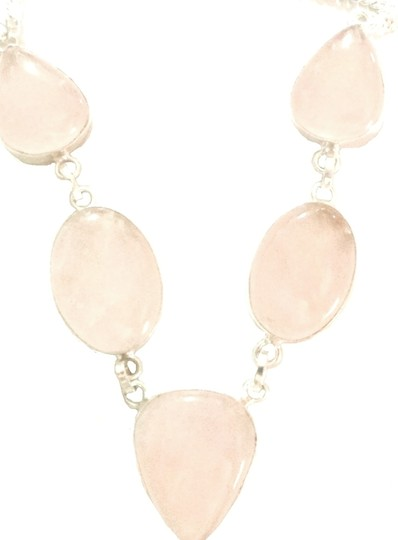 Other Lovely Pink Quartz 925 Sterling Silver Statement Necklace
