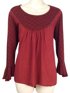 Anthropologie Geo Geometric Hi-low High Lo High-low Sweater Diamon Print 3/4 Sleeves Unique Top red