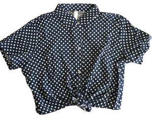 American Apparel Crop Button Down Shirt Navy with white polka dots
