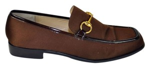Gucci Satin Patent Leather Loafers Gold Tone Horse-bit Brown Flats