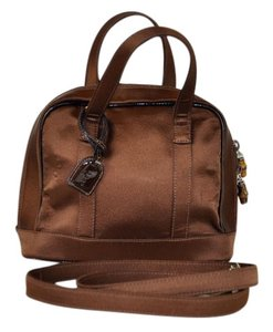Gucci Satin Leather Trim Patent Leather Satchel in Brown