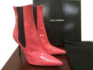 Dolce&Gabbana Patent Black Neon Bright Pink Boots
