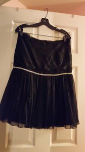 Dolce & Gabbana And Lace Rhinestone Designer Skirt Black