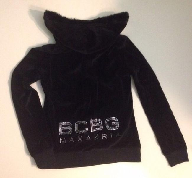 BCBG Fur Bling Rhinestone Rhinestones M Furry Hoodie Sweat Black Jacket