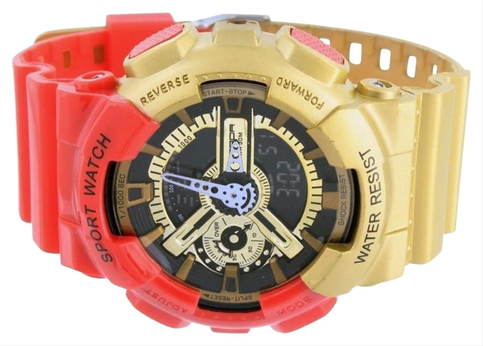 Red and Gold Mens Shock Resistant Iron Man Red/Gold Classic Series Digital  Analog Watch 72% off retail
