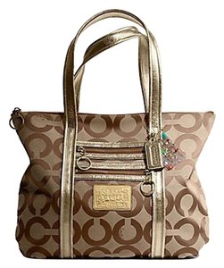 Coach Poppy Signature Op Handbag Tote in Khaki/Gold