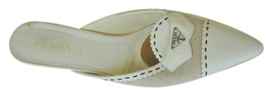 Prada Vintage Leather Woven Pointy Toe Size 40 Ivory Mules