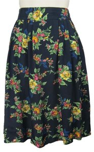 Michelle Stuart Floral Retro 80's Pinup Flowers Print Skirt navy, multi-colored