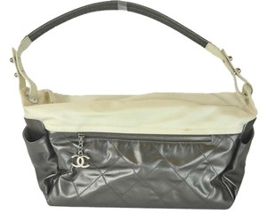Chanel Paris Biarrits Metallic Gray Shoulder Bag