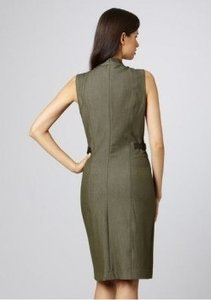 Sharagano A-line V-neck Sleeveless Leather Happy Hour Business Dress