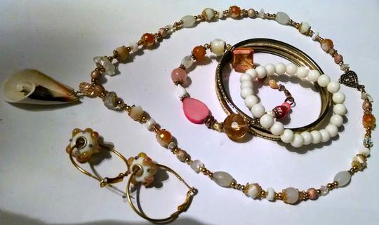 Other NECKLACE BRACELETS & EARRING SET MATCHING HANDMADE SHELL J4