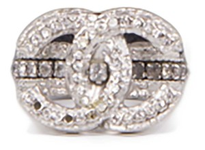 Chanel CC Silver Crystal CC Logo Ring