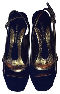 Enzo Angiolini Black/Gold Wedges