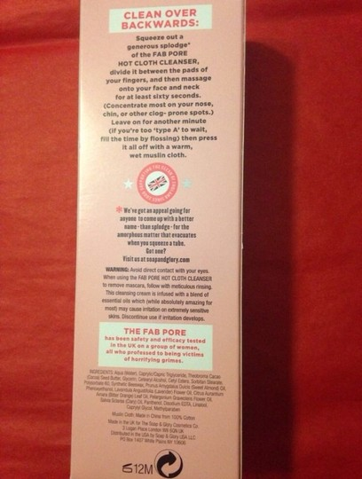 Soap and glory sealed Soap and glory fab pore hot cloth cleanser with muslin face cloth skincare