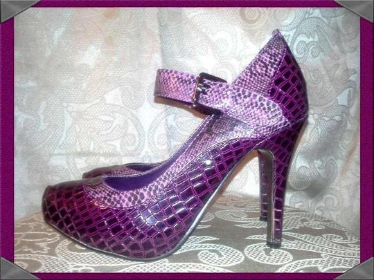 Dollhouse Mary Jane Stiletto Snakeskin Purple Pumps
