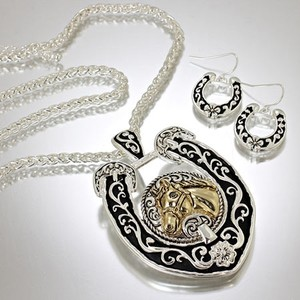 Beautiful Horse Head Western Necklace Set Free Shipping