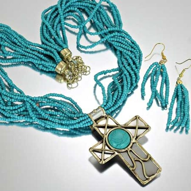 Item - Turquoise Seed Bead Cross Necklace Free Shipping Jewelry Set