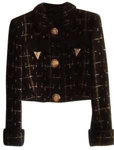 Versace Brand New Vintage Gianni Couture Collectible Black/Gold Boucle Blazer