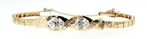 14k gold 9/10 ct tw diamond textured link bracelet
