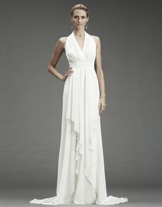 Nicole Miller Bridal Antique White Silk Grecian Inspired Gown Fa0028 Formal Wedding Dress Size 12 (L)