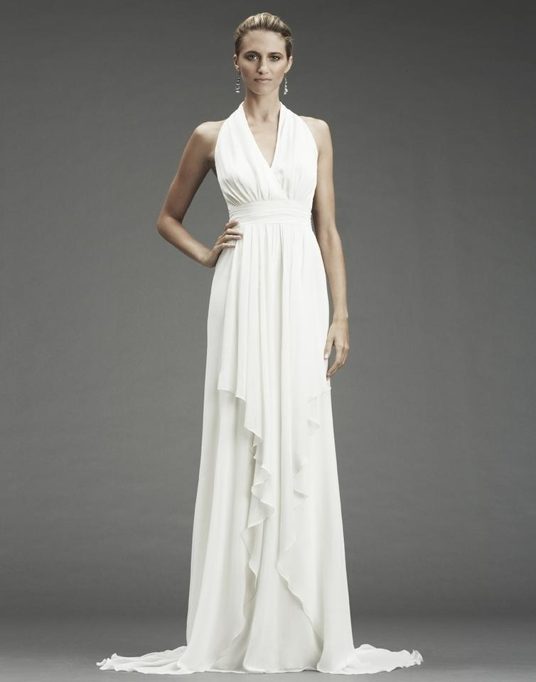 Nicole Miller Bridal Antique White Silk Grecian Inspired Gown Fa0028 Formal Wedding Dress Size 12