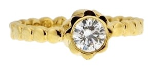 18K Yellow gold 2/5 carat round solitaire beaded engagement wedding band ring