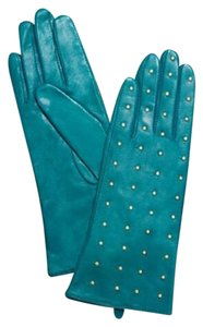 Tory Burch Nwt Tory Burch Teal Green Leather Gold Studded Gloves Size 6