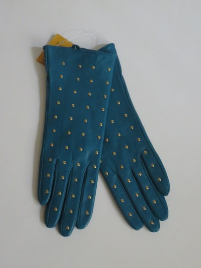 Tory Burch Nwt Tory Burch Teal Green Leather Studded Gloves Size 6 Small Image 1