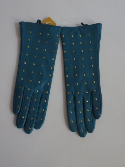Tory Burch Nwt Tory Burch Teal Green Leather Studded Gloves Size 6 Small Image 2