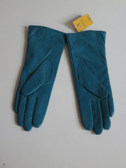 Tory Burch Nwt Tory Burch Teal Green Leather Studded Gloves Size 6 Small Image 3