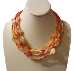 Other Ahh The Beach!! Fabulous Beaded Necklace with Orange and Natural Shells