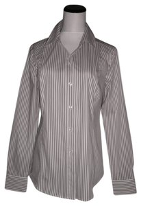 Attention Button Down Shirt Black/White/Tan Striped