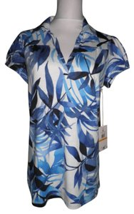Caribbean Joe Top Blue/White