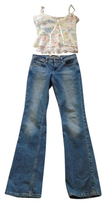 Item - Blue and Floral Light Wash Top Boot Cut Jeans Size 26 (2, XS)