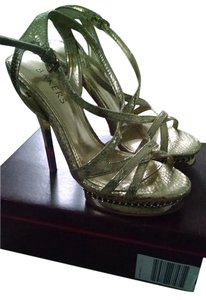 Bakers Strappy Platform Gold Sandals