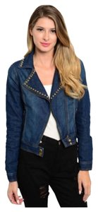 Other Rock And Roll Spikes Edgy Asymmetrical Dark Blue Denim Womens Jean Jacket